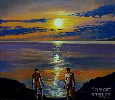 Painting - Nude Male Dippers Dipping During Sunset by Christopher Shellhammer