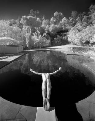 Rear View Photograph - Nude Male Diving Into Dark Poolicarus by Ed Freeman