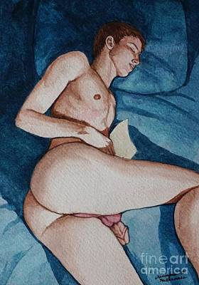 Painting - Nude Male Fell Aleep After Reading The Letter by Christopher Shellhammer