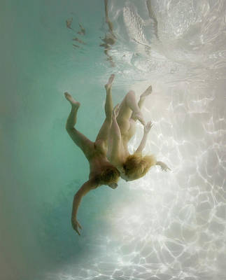 Naked Photograph - Nude Man And Woman Underwater by Ed Freeman