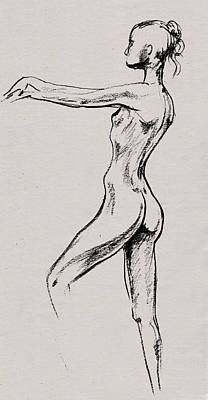 Drawing - Nude Model Gesture Xix by Irina Sztukowski