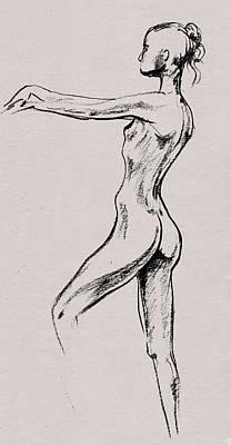 Abstract Drawings - Nude Model Gesture XIX by Irina Sztukowski