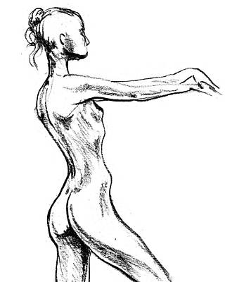 Drawing - Nude Model Gesture Xvii by Irina Sztukowski