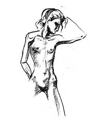 Drawing - Nude Model Gesture Xx by Irina Sztukowski