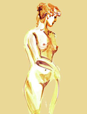 Nudes Paintings - Nude Model Gesture XXIII by Irina Sztukowski