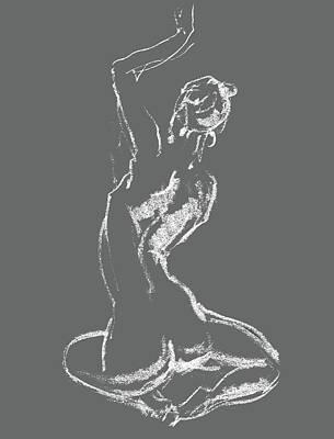 Drawing - Nude Model Gesture Xxviii by Irina Sztukowski