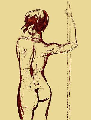 Drawing - Nude Model Gesture Xxxiv by Irina Sztukowski