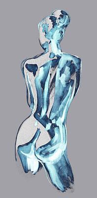 Nudes Paintings - Nude Woman Model Gesture Watercolor XXXIX by Irina Sztukowski