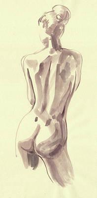 Painting - Nude Woman Model Gesture Watercolor Xxxvi by Irina Sztukowski
