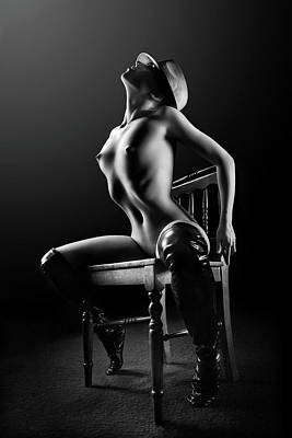 Popstar And Musician Paintings - Nude woman on chair 2 by Johan Swanepoel