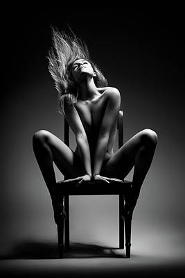 Shades Of Gray - Nude woman sitting on chair by Johan Swanepoel
