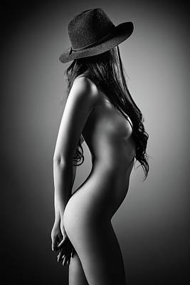 Nudes Royalty-Free and Rights-Managed Images - Nude woman with a hat by Johan Swanepoel