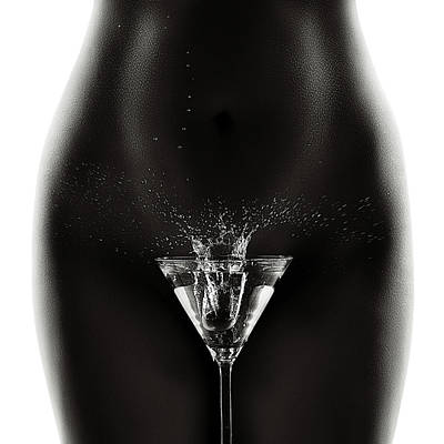 Martini Photos - Nude woman with martini splash by Johan Swanepoel