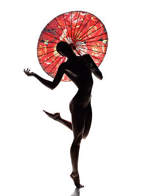 Aretha Franklin - Nude woman with red parasol by Johan Swanepoel