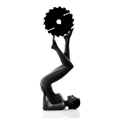 Michael Jackson - Nude woman with saw blade 2 by Johan Swanepoel