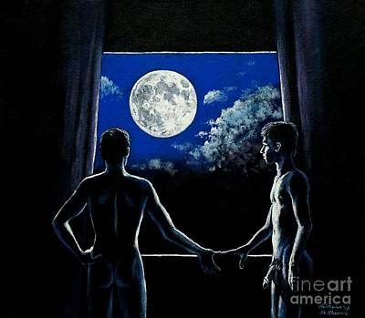 Painting - Nudists Sharing The Moonlight Moment by Christopher Shellhammer
