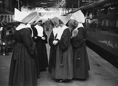 Photograph - Nuns At Euston by Erich Auerbach