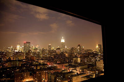 Cityscape Photograph - Nyc Elevated View At Night Looking by Michael Duva