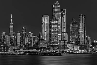 Photograph - Nyc Hello Hudson Yards Bw by Susan Candelario