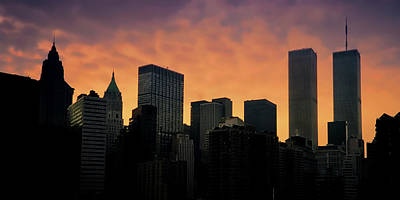 Photograph - Nyc Skyline Sunrise With Twin Towers by Joann Vitali