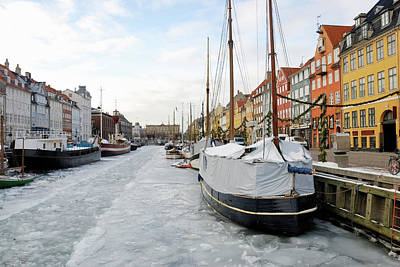 Photograph - Nyhavn In Copenhagen, Denmark - Ice by Monap