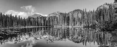 Photograph - Nymph Lake Rocky Mountain Landscape Colorado Panorama Monochrome by Gregory Ballos