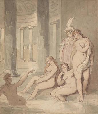 Drawing - Nymphs At A Roman Bath by Thomas Rowlandson