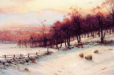 Joseph Farquharson Wall Art - Painting - O Er Snow Clad Pastures When The Sky Grew Red by Farquharson Joseph