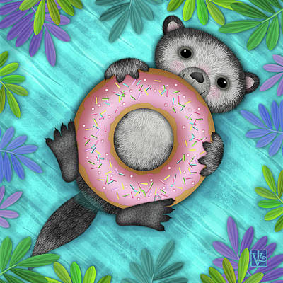 Digital Art - O Is For Otter With An O So Delicious Doughnut by Valerie Drake Lesiak