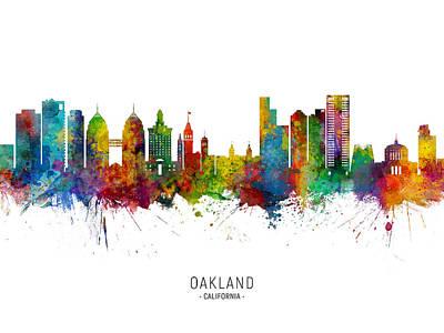 Digital Art - Oakland California Skyline by Michael Tompsett