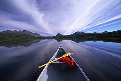 Oar Photograph - Oar And Shirt In Canoe On Lake by Michael Melford