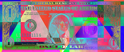 Digital Art - Obverse Of A Colorized One U. S. Dollar Bill  by Serge Averbukh