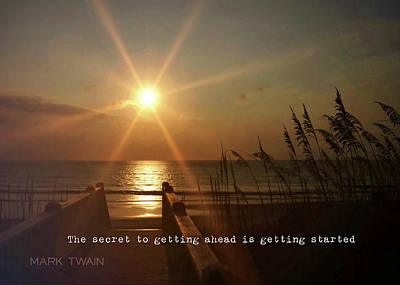 Photograph - Obx Sunrise Quote by JAMART Photography