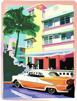Digital Art - Ocean Drive Hotel With Roadster by Shellpreast
