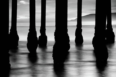 Photograph - Ocean Pier Silhouettes - California Sunset - Black And White by Gregory Ballos