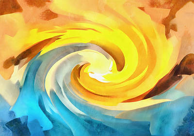 Painting - Ocean Wave At Sunset by Dan Sproul