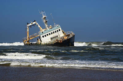 Trapped Photograph - Ocean Waves Slam Into Shipwreck On by Milehightraveler