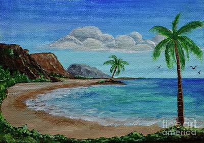 Painting - Ocean With Palm Trees by Jacqueline Athmann