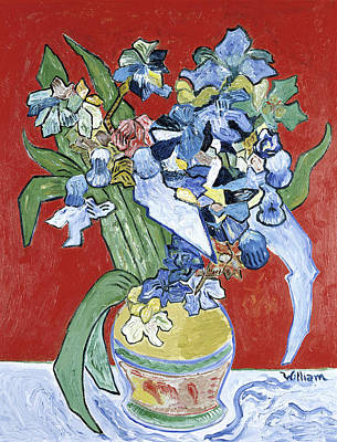 Painting - Ochre Vase With Red Background By by William Huggin