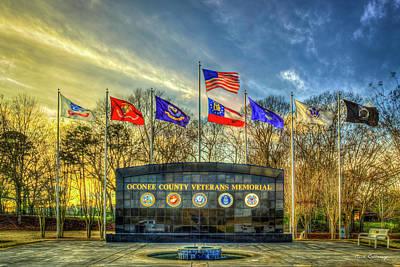 Photograph - Oconee County Veterans Memorial Sunset Landscape Athens Georgia Art by Reid Callaway