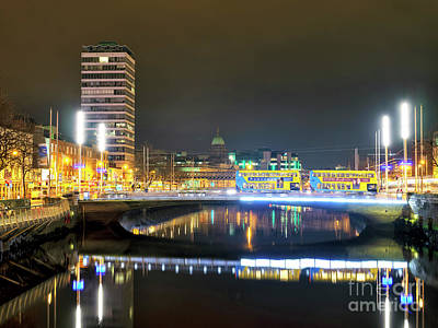 Photograph - O'connell Bridge At Night Dublin by John Rizzuto