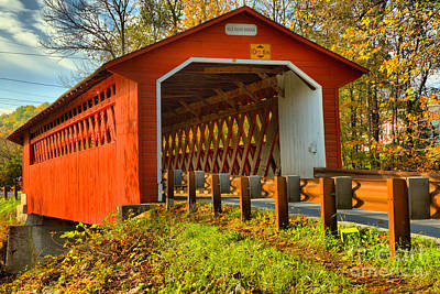 Photograph - October Afternoon At The Silk Covered Bridge by Adam Jewell