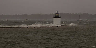 Photograph - October Storm At Derby Wharf Lighthouse by Jeff Folger
