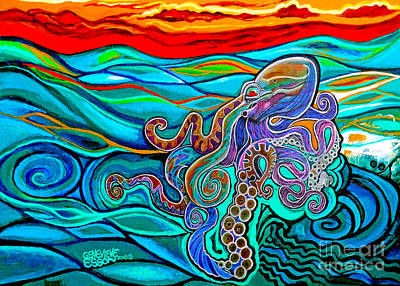 Royalty-Free and Rights-Managed Images - Octopus At Sunset by Genevieve Esson