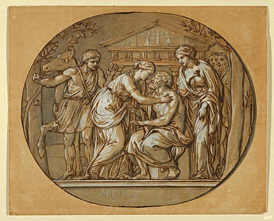 Drawing - Oedipus Before The Temple Of The Furies Between His Daughters Antigone And Ismene by Anton Raphael Mengs