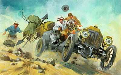 Painting - Off Roading During A Ten Thousand Mile Motor Race by Ferdinando Tacconi
