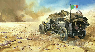 Painting - Off-roading In A Ten Thousand Mile Motor Race by Ferdinando Tacconi