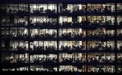 Accountancy Wall Art - Photograph - Office Workers Labour Into The Night by Oli Scarff