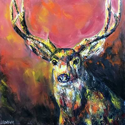 Painting - Oh Deer Contemporary Art by Jennifer Morrison Godshalk