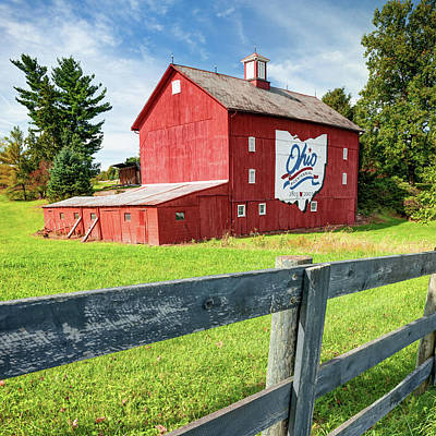 Royalty-Free and Rights-Managed Images - Ohio Bicentennial Barn and Fence - Square Format by Gregory Ballos
